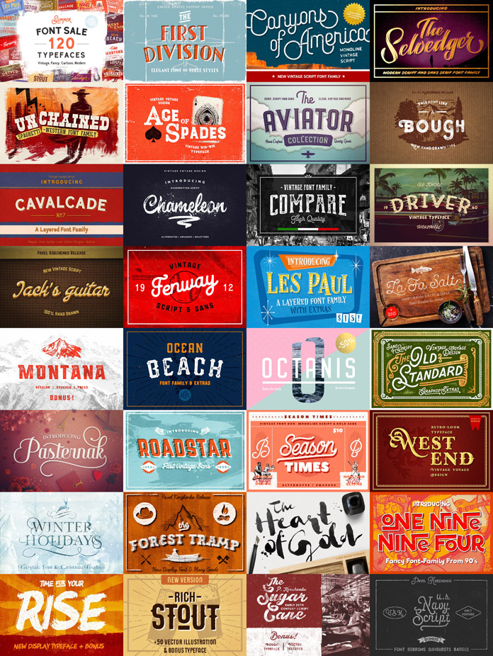 31 fonts with 122 typefaces from Vintage Voyage Design Co.