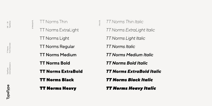 TT Norms, Straights and Italics