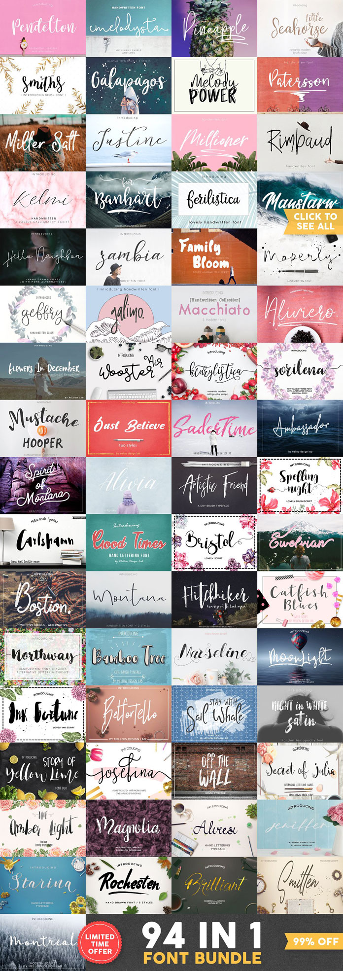 94 fonts by Kelly Reed of Mellow Design Lab.