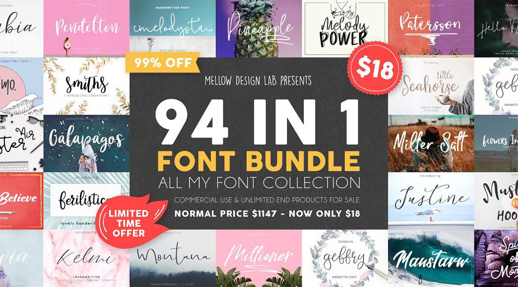 94 fonts in one bundle - limited time offer.