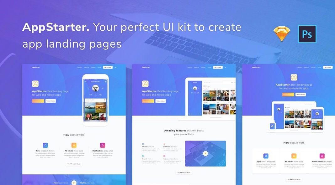 AppStarter - UI Kit for App Landing Pages.