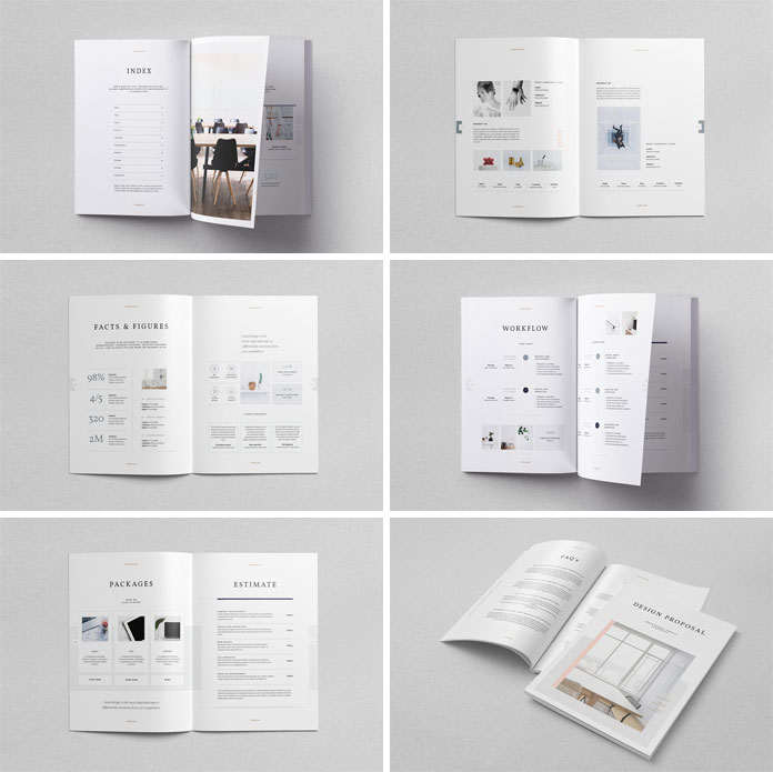 Brochure and design proposal templates for creative professionals.