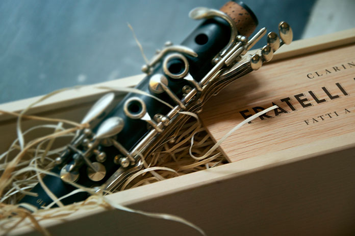 Andrew Colin Beck design, clarinet in its wooden box.