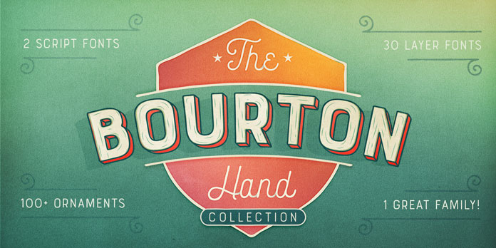 Bourton Hand - multilayered font family by Kimmy Kirkwood.