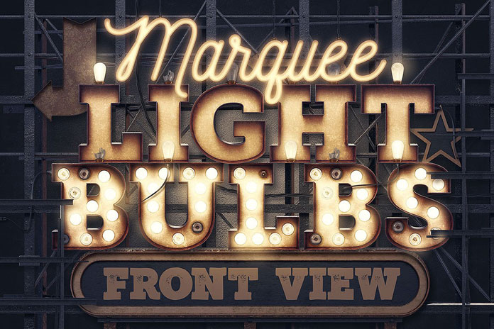 Marquee Light Bulbs - front view templates.