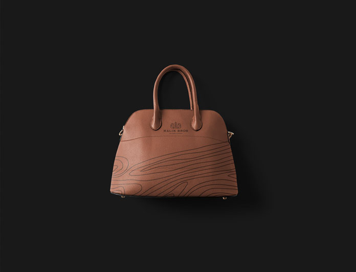 Leather bag with brand design.