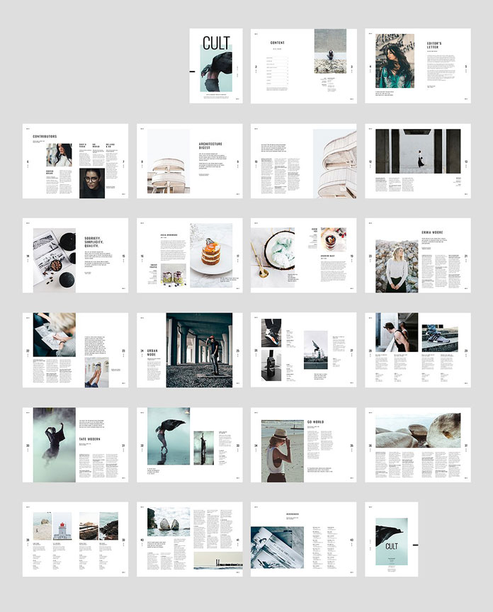 Cult adobe indesign magazine template for Adobe indesign magazine templates free download
