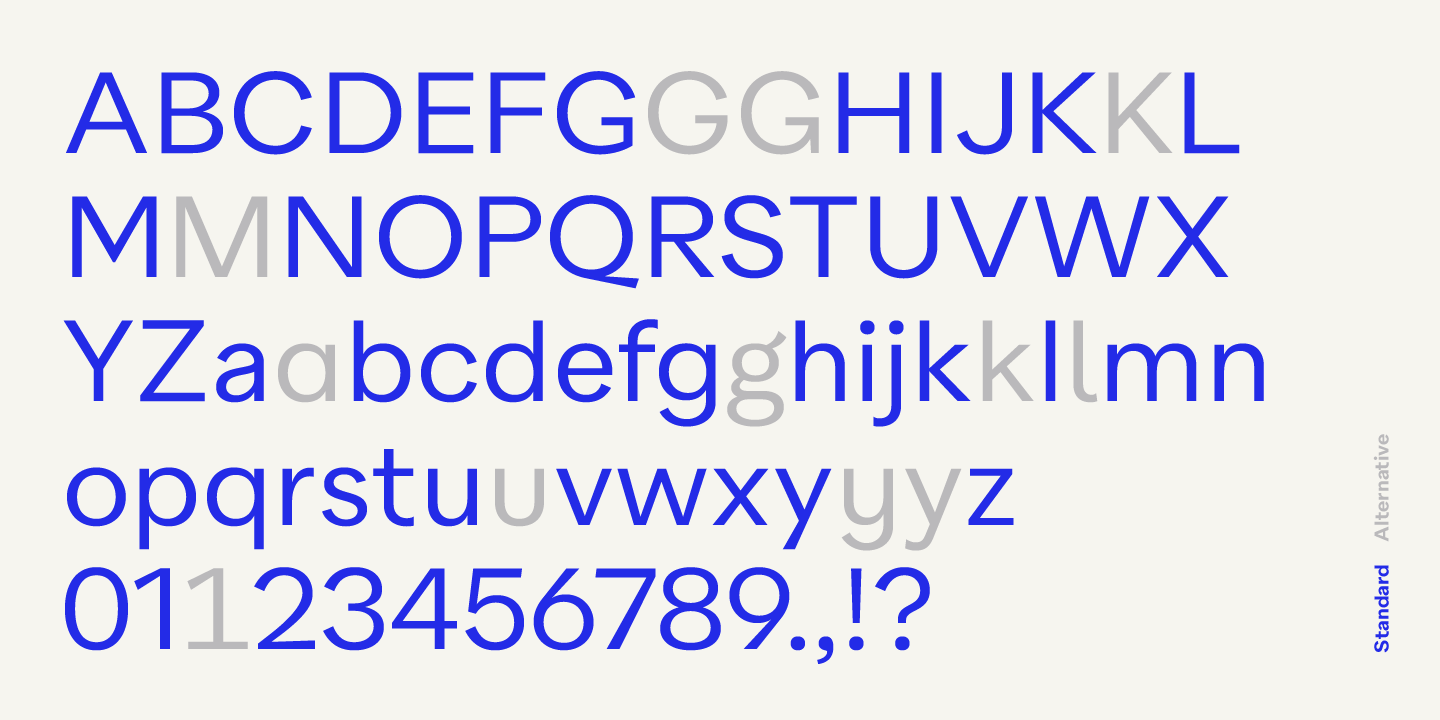 Quarion font, Standard and alternative characters