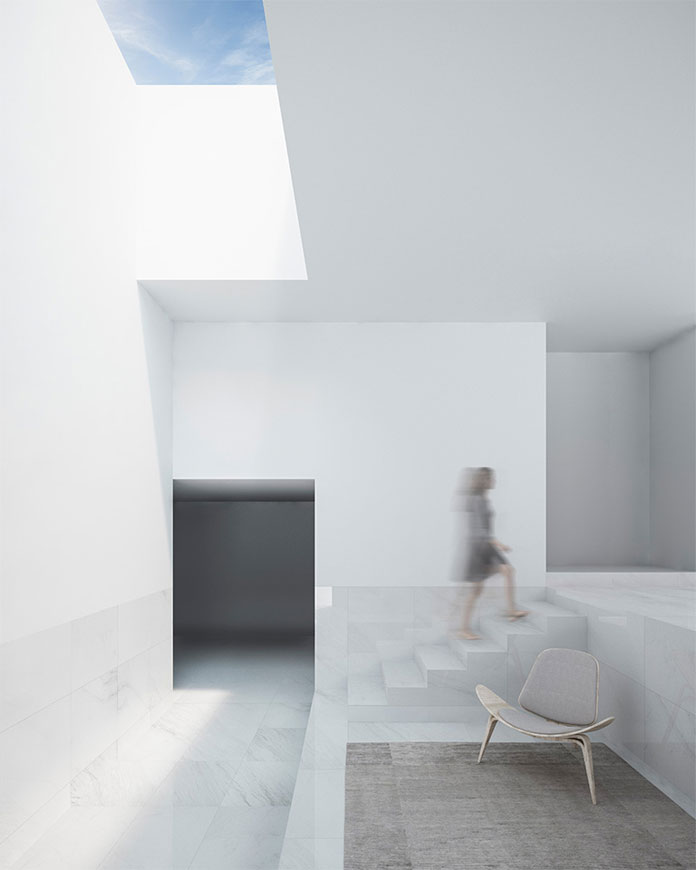 Clean intersections of white rectangular shapes.