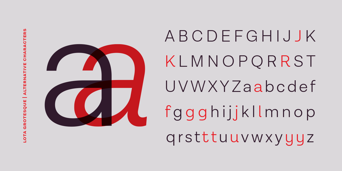 Lota Grotesque font family, basic characters plus alternative letters.