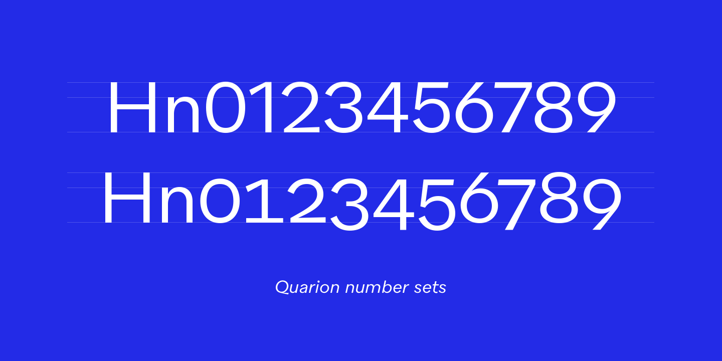 Quarion font, Number sets