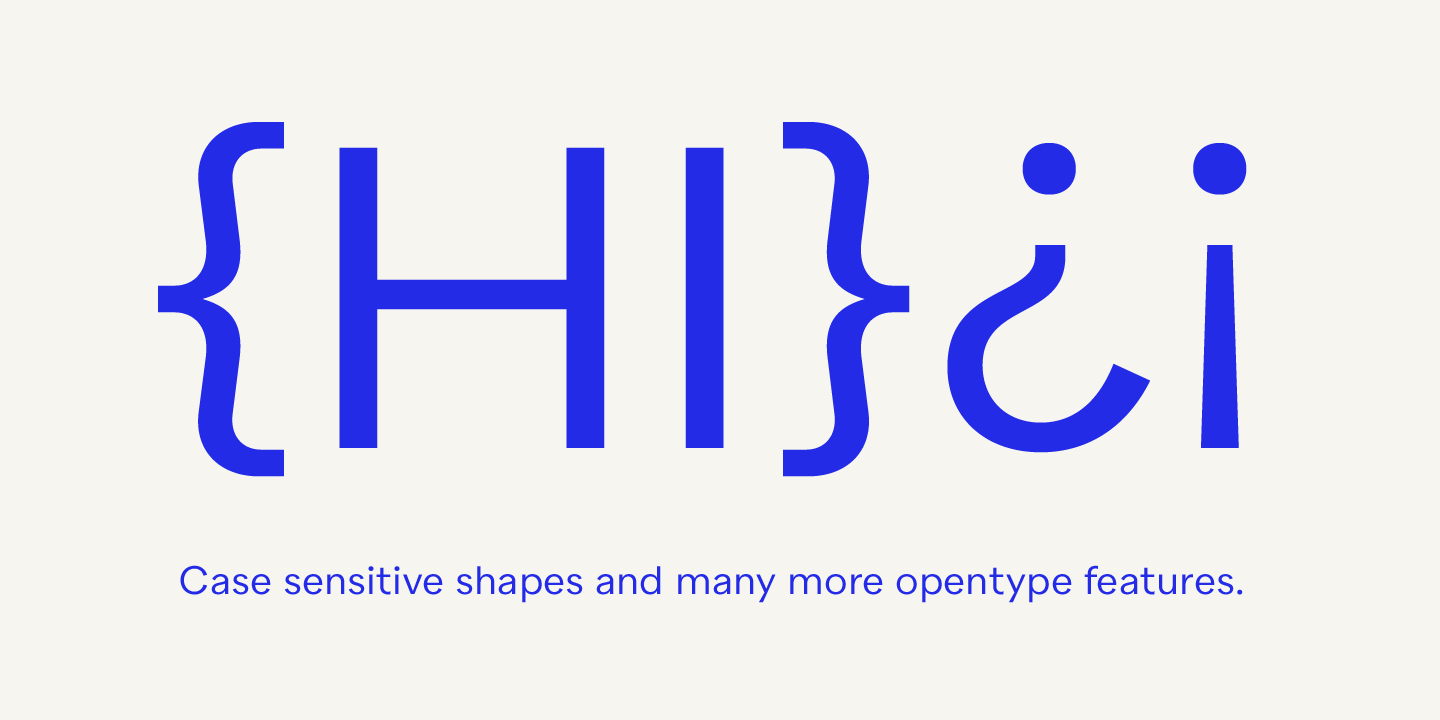 Quarion font, Case sensitive shapes and many more OpenType features