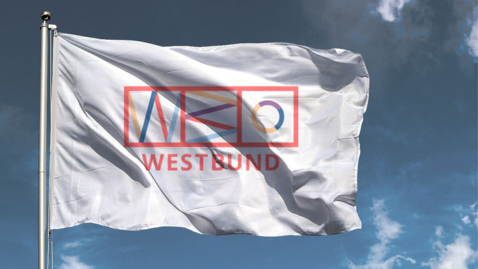 Flag with logo.