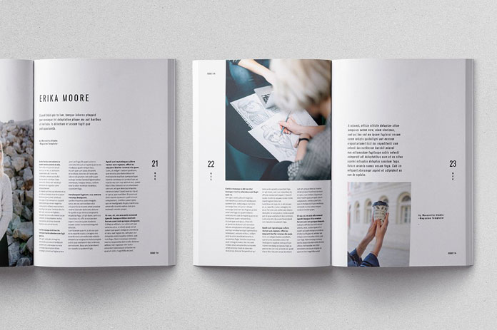 Moscovita magazine template, aligned to baseline and columns grid.
