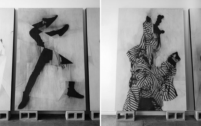 Jesse Draxler, two large-scale artworks in the studio