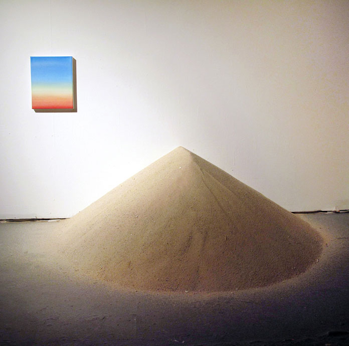 Amelia Carley, Nether near, nor far - sand, oil on canvas, insulation foam, 2016