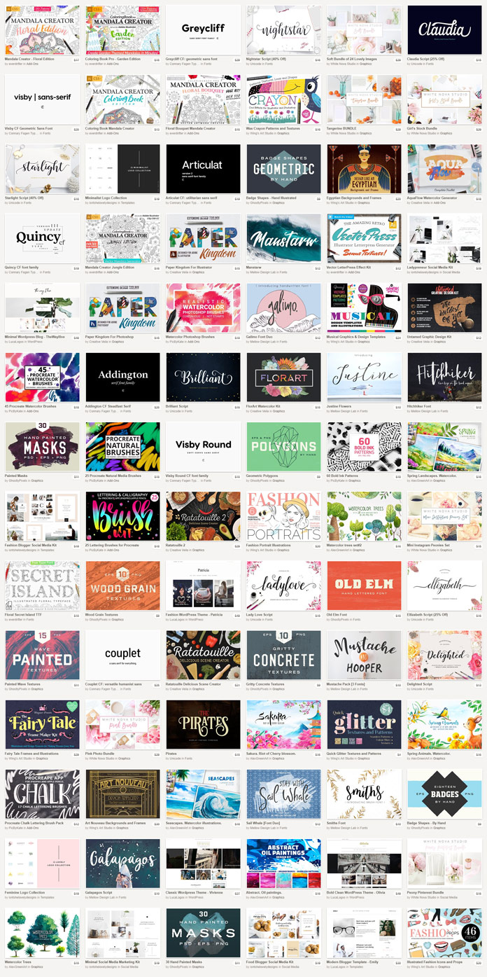 Big bundle: 87 amazing graphic products 97 % off.