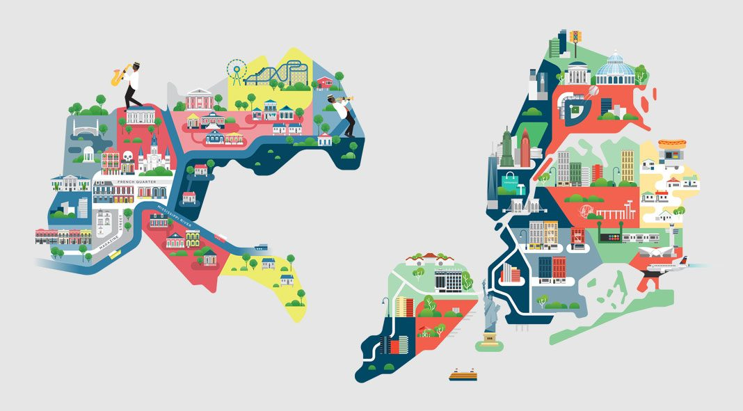 Cities of America - map illustrations by Jing Zhang.