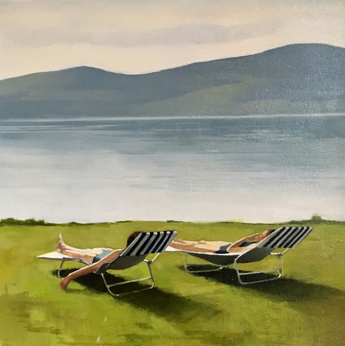 Elisabeth McBrien, By the Lake, oil on canvas, 12 x 12, 2017