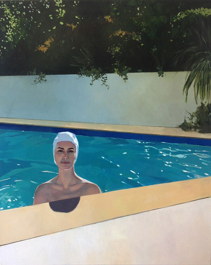 Elisabeth McBrien, Swimming Pool, oil on canvas, 34 x 42, 2015