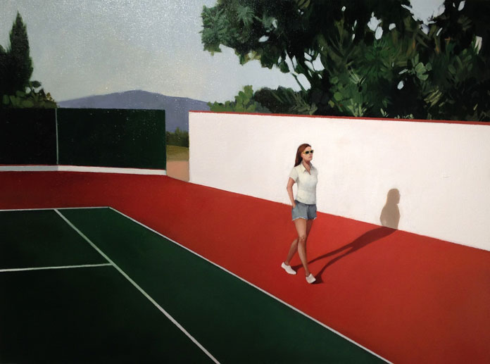 Elisabeth McBrien, Tennis Court, oil on canvas, 25 x 34, 2015