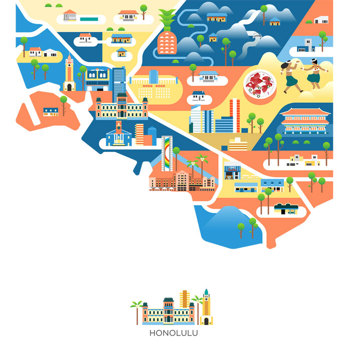 Cities of America – Map Illustrations by Jing Zhang
