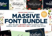 Huge font bundle from Seniors Studio.