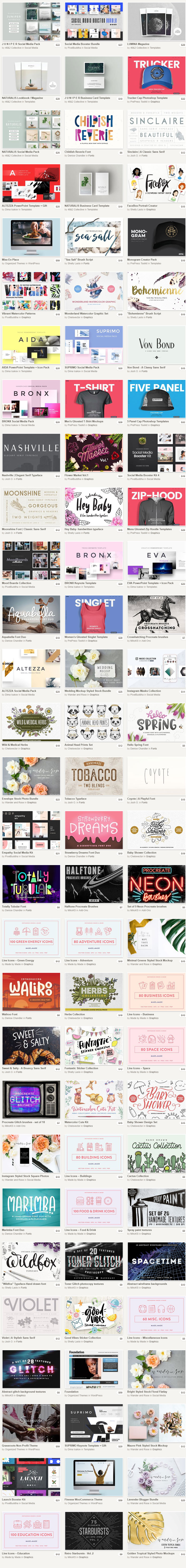 Big Summer Sale: graphic products and fonts in the August bundle from Creative Market!