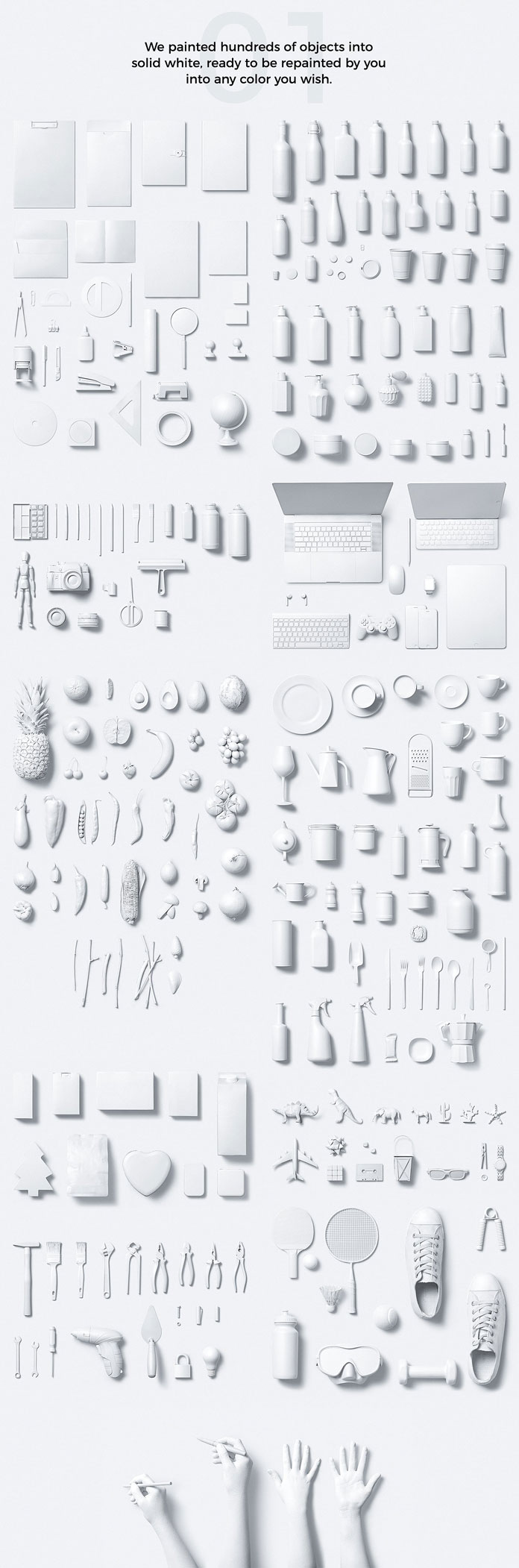 Hundreds of objects painted into solid white.