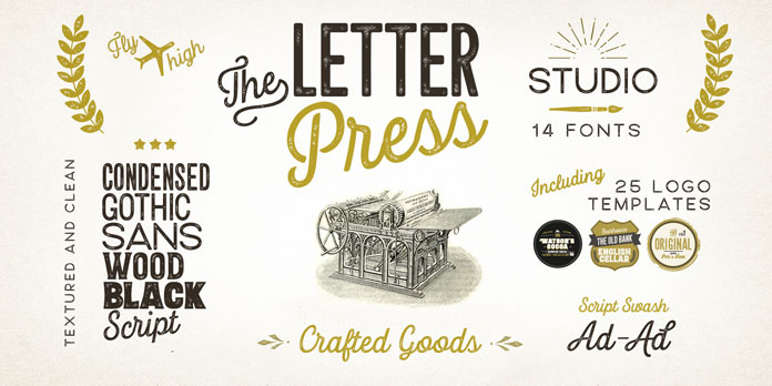 Letterpress fonts and graphics.