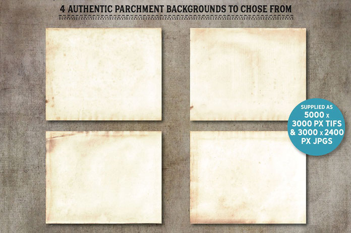 Authentic parchment backgrounds to chose from.