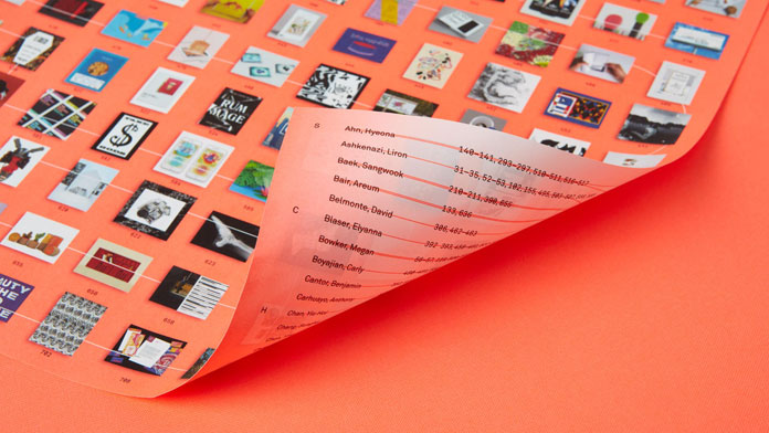 The jacket doubles as a poster with a visual index of the students on one side and an alphabetical index on the other.