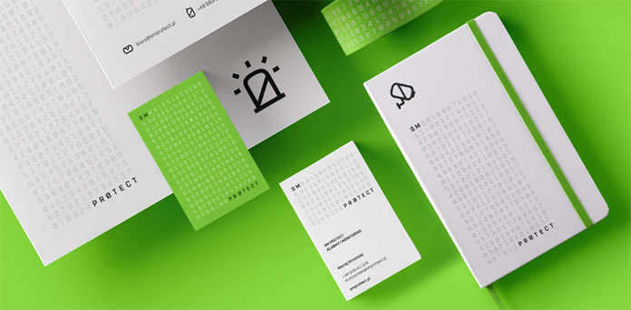 A corporate identity based on letters, numbers, and symbols.