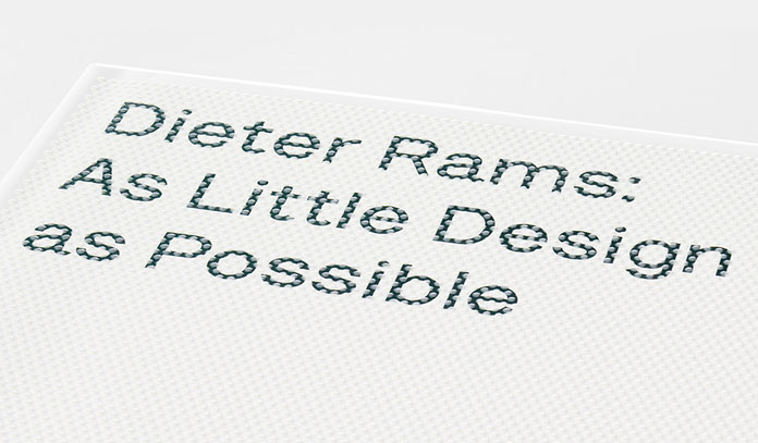 Dieter Rams - As Little Design As Possible, Detail view of the cover typo.