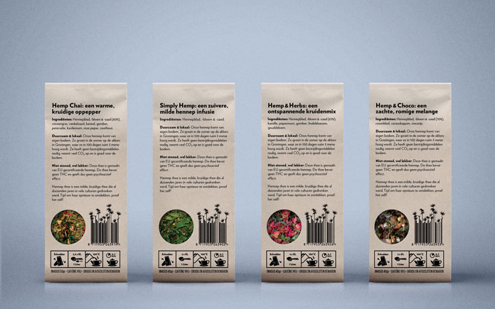Dutch Harvest Hemp Tea, Back of the packaging.