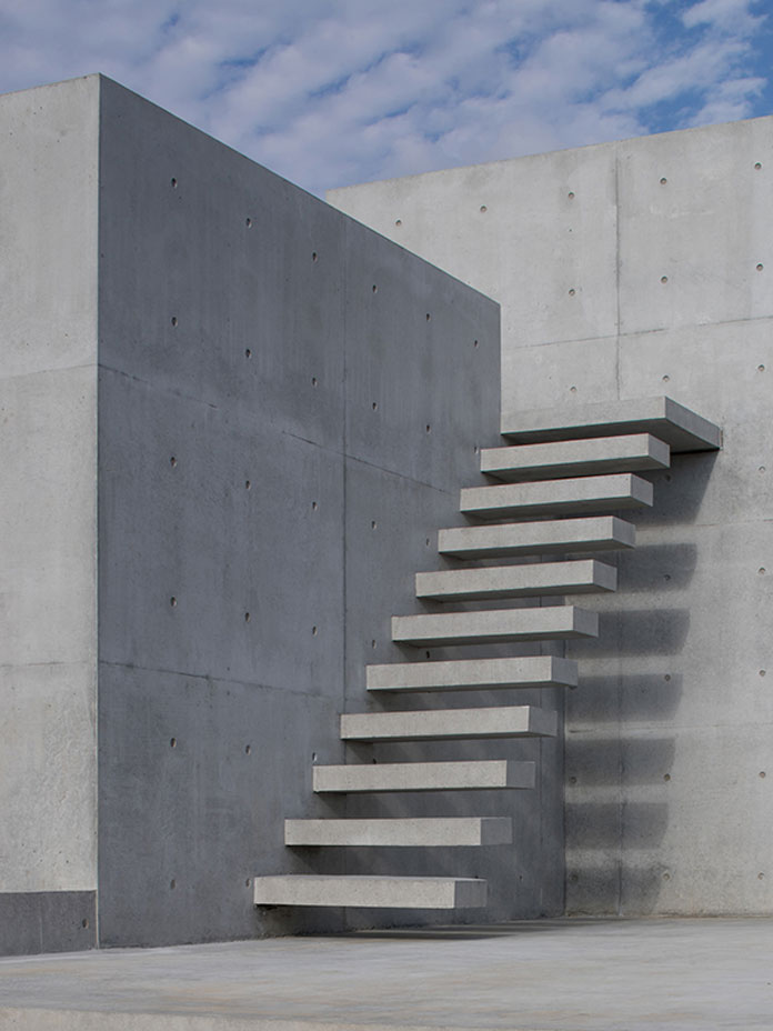 A minimalist staircase that leads to the roof terrace.