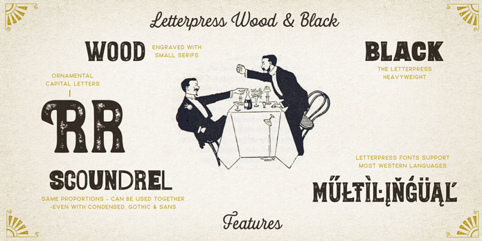 Wood style font as black version.