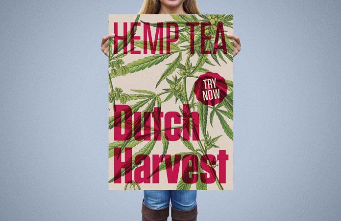 Dutch Harvest Hemp Tea, Poster design.