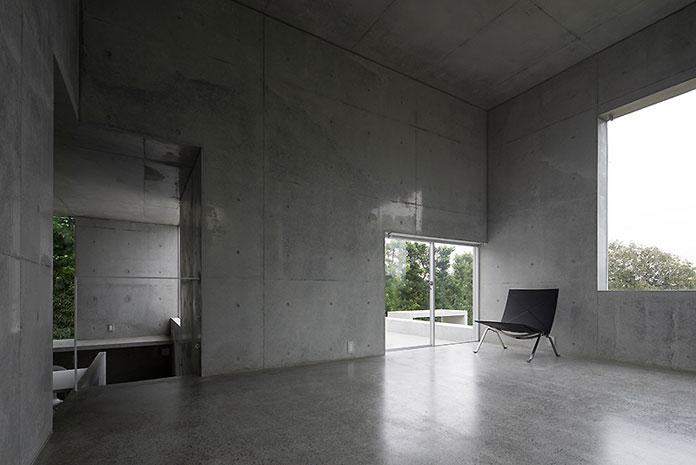 Walls of rough concrete.