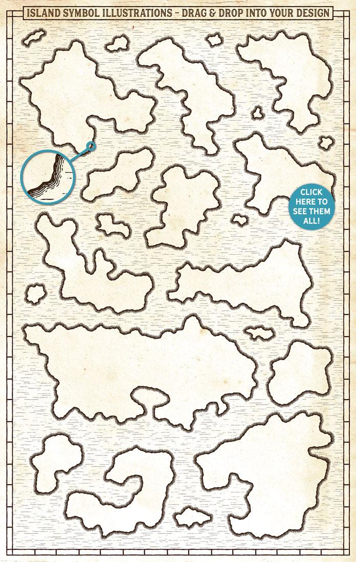 Island symbol illustrations.