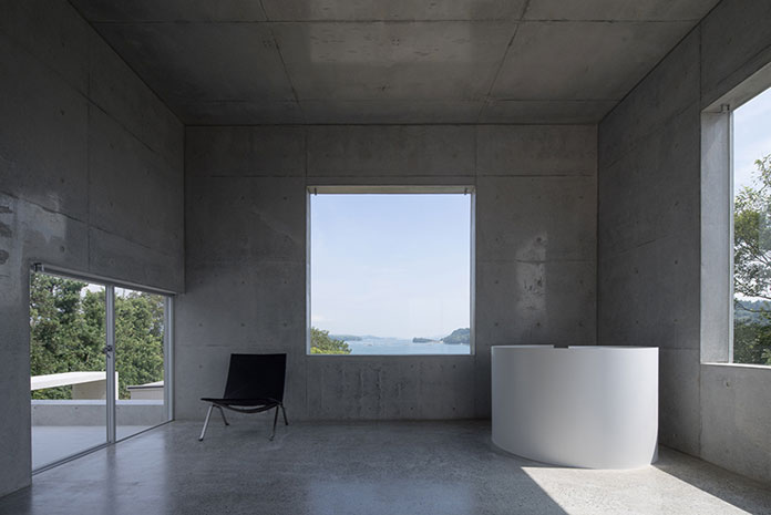 The modern ambience is characterized by clean, rectilinear forms.