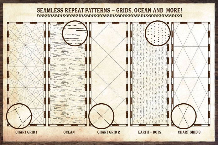 Seamless repeat patterns, grids, ocean and more.
