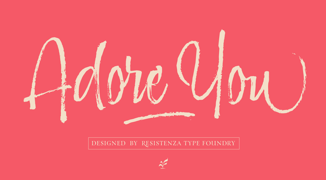 Adore You, a hand-lettered brush script font.