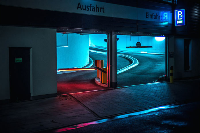 After hours in Hamburg by Mark Broyer, Parking entrance