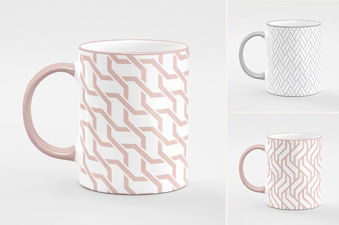 Design tea and coffee cups with different seamless patterns.