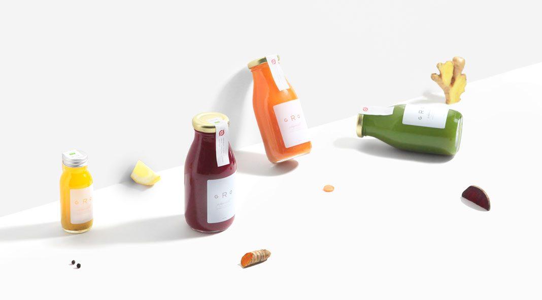GRO Juice – organic cold-pressed juices – branding by Glasyr.