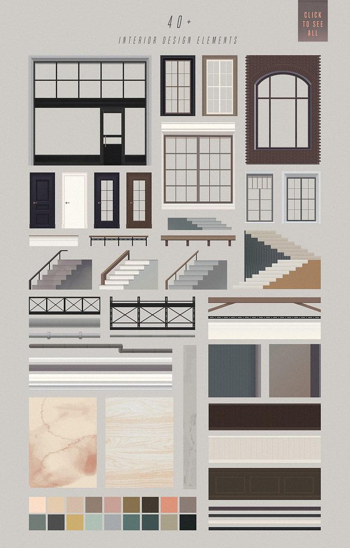 Interior design elements.