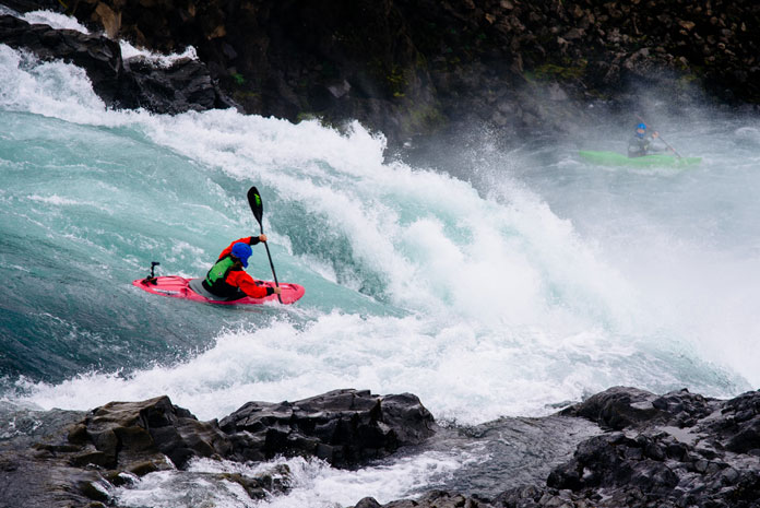 Kayaking at Goðafoss Waterfall, Iceland (2013)