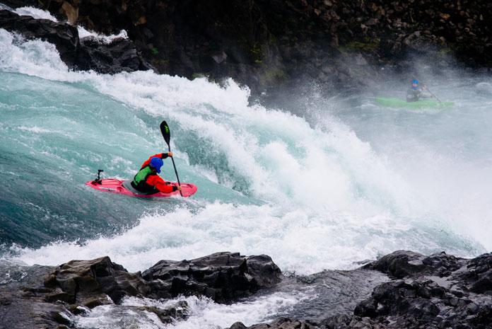 Kayaking at Goðafoss Waterfall, Iceland (2013)