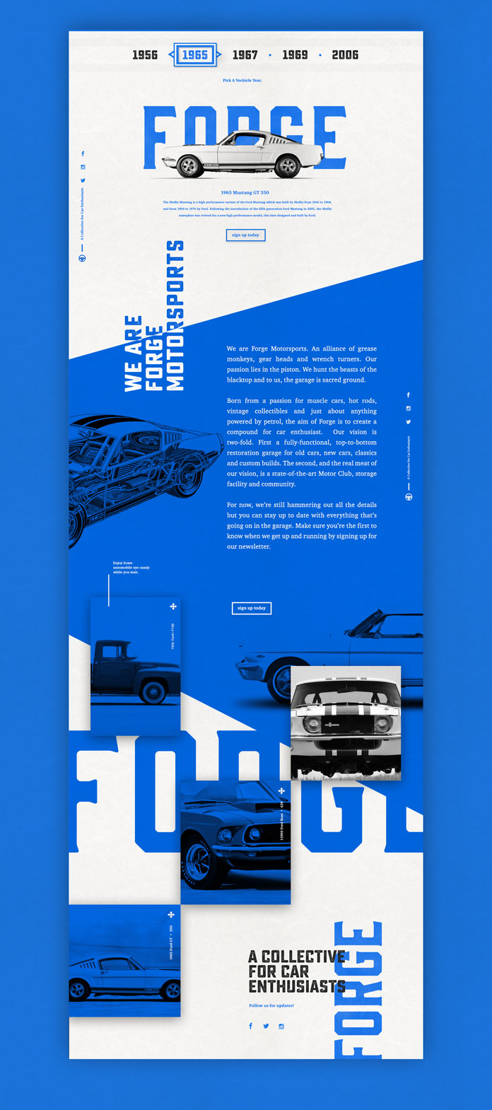 Nick Franchi, Forge website in muscle car blue